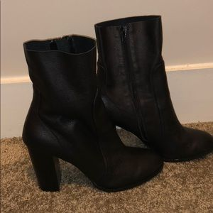 Black, real leather boots